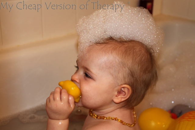 Daddy gave you your 1st bubble bath. It went over well. :)
