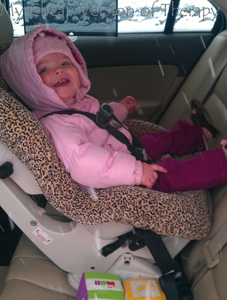 Stella came with me to my work meeting this morning - AND enjoyed her 2nd real time in a convertible carseat. :)