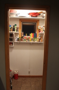 The view of our pantry from the kitchen. *gulp*