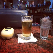 Charging up my pump one last time at our layover in Denver. Thanks Mr. bartender!