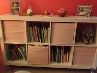 The book shelf / storage area. The 4 bins hold spare sheets, stuffed animals, misc., and Stella's shoes.