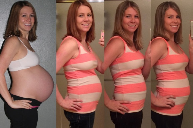 40 weeks - 2 weeks postpartum - 9 months postpartum - nearly 1 year postpartum