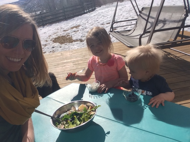 Eating one of my mason jar salads today while having lunch with my littles! <3