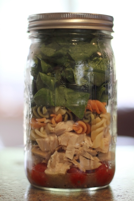 Chicken & Pasta Salad, Mason Jar Salad, 21 Day Fix Approved